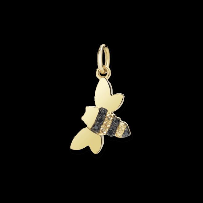 Charm Dodo Biene (groß) aus 750 Gelbgold mit mehreren Saphiren und mehreren Diamanten (0,03 Karat)