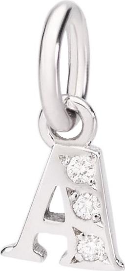 Charm Dodo Buchstabe A (klein) aus 750 Weißgold mit mehreren Diamanten