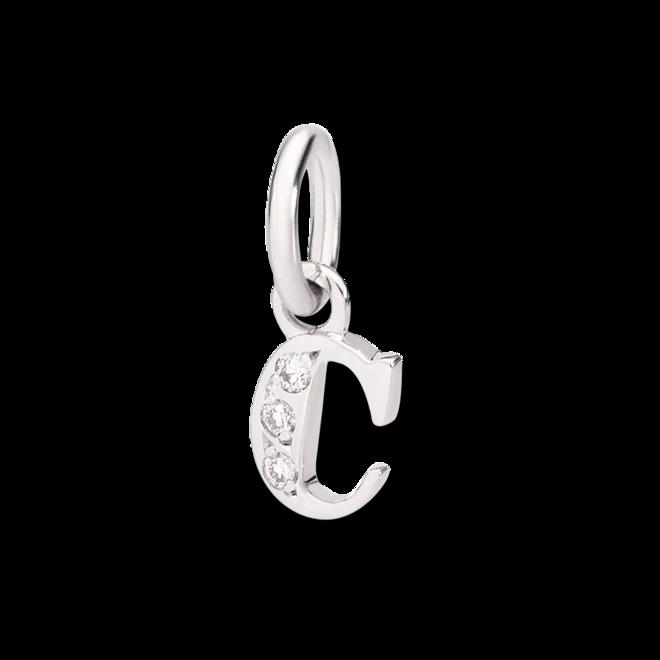 Charm Dodo Buchstabe C (klein) aus 750 Weißgold mit mehreren Diamanten bei Brogle