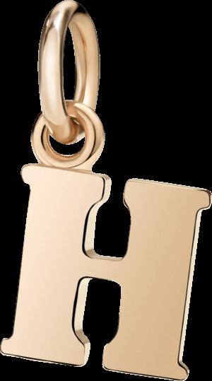 Charm Dodo Buchstabe H (groß) aus 375 Roségold