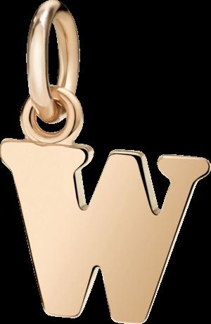 Charm Dodo Buchstabe W (groß) aus 375 Roségold