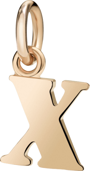 Charm Dodo Buchstabe X (groß) aus 375 Roségold