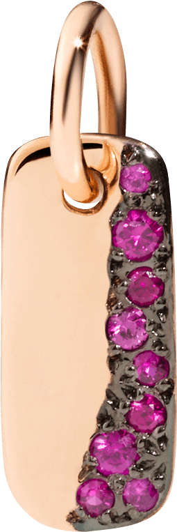 Charm Dodo aus 375 Roségold mit mehreren Rubinen