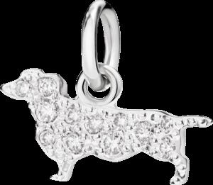 Charm Dodo Dachshund (klein) aus 750 Weißgold mit mehreren Diamanten (0,1 Karat)