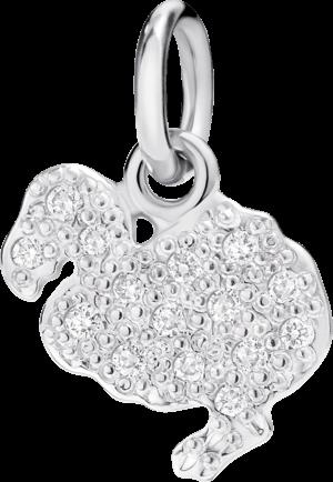 Charm Dodo Dodo (klein) Diamant aus 750 Weißgold mit mehreren Diamanten (0,1 Karat)