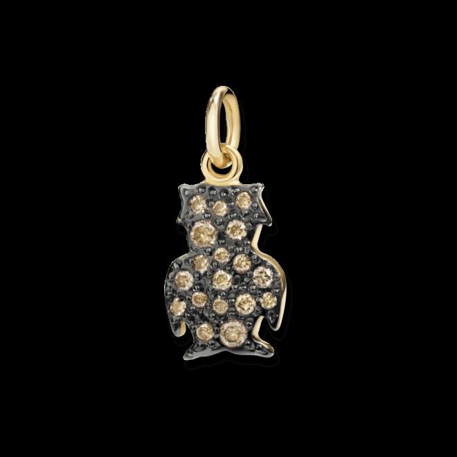 Charm Dodo Eule (groß) aus 750 Gelbgold mit mehreren Diamanten (0,13 Karat)