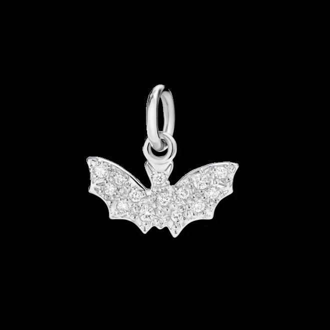 Charm Dodo Fledermaus (klein) aus 750 Weißgold mit mehreren Diamanten (0,1 Karat)