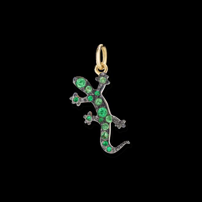 Charm Dodo Gecko (groß) aus 750 Gelbgold mit mehreren Tsavolithen