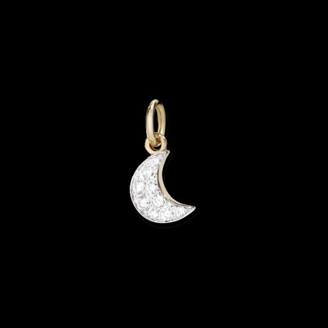 Anhänger Dodo Halbmond (klein) aus 375 Roségold mit mehreren Diamanten (0,15 Karat)