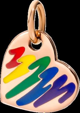 Charm Dodo Herz In den Farben Des Regenbogens aus 375 Roségold und Emaille