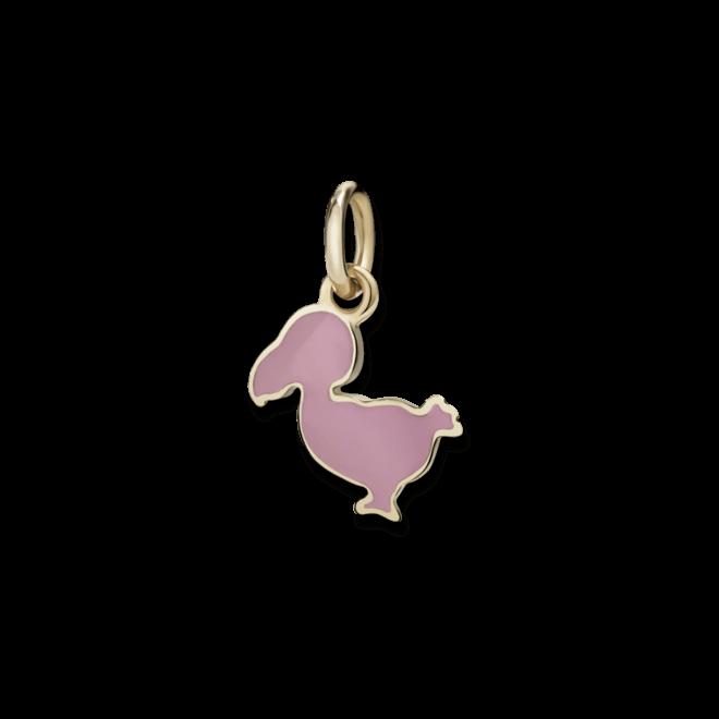 Charm Dodo Junior Dodo (klein) aus 375 Roségold und Emaille