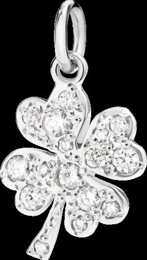 Charm Dodo Kleeblatt (groß) Diamant aus 750 Weißgold mit mehreren Diamanten (0,28 Karat)