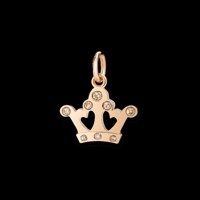 Charm Dodo Königinskrone Diamant aus 375 Roségold mit 8 Diamanten (0,12 Karat)