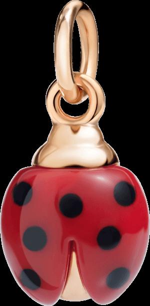 Charm Dodo Marienkäfer aus 375 Roségold, Edelharz und Emaille