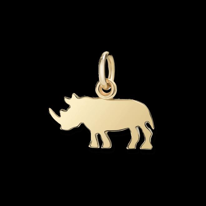 Charm Dodo Nashorn (groß) aus 750 Gelbgold
