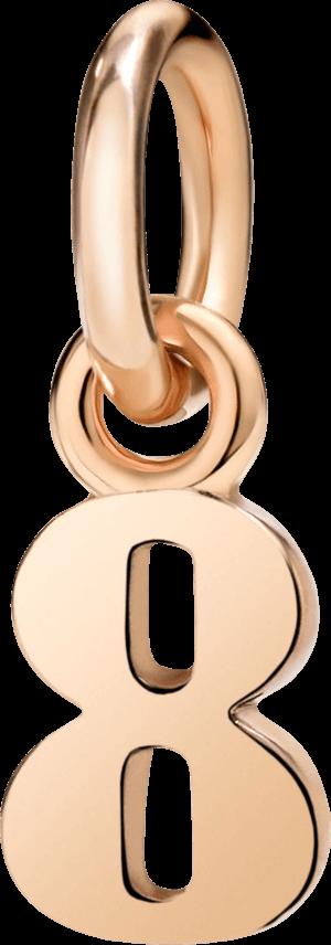 Charm Dodo Nummer 8 (klein) aus 375 Roségold