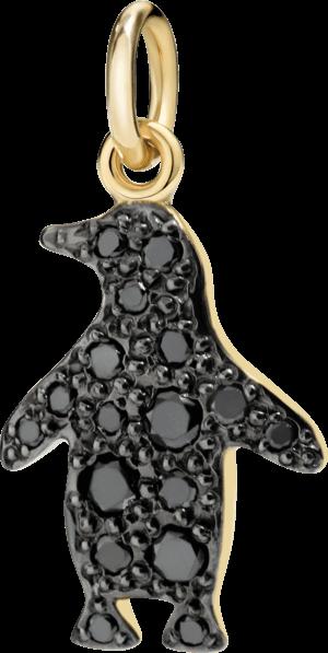 Charm Dodo Pinguin (groß) Diamant aus 750 Gelbgold mit mehreren Diamanten (0,22 Karat)