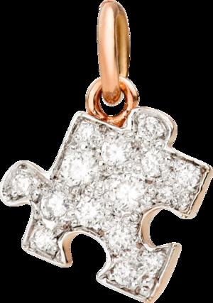 Anhänger Dodo Puzzle aus 375 Roségold mit mehreren Diamanten