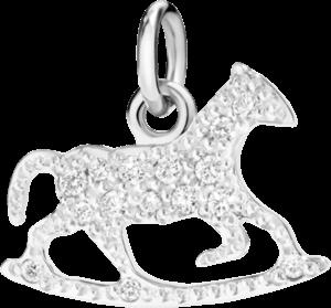Charm Dodo Schaukelpferd (klein) aus 750 Weißgold mit mehreren Diamanten (0,1 Karat)