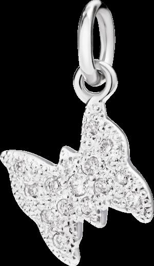 Charm Dodo Schmetterling (klein) Diamant aus 750 Weißgold mit mehreren Diamanten (0,1 Karat)