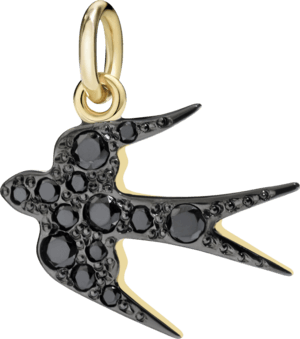 Charm Dodo Schwalbe (groß) aus 750 Gelbgold mit mehreren Brillanten (0,22 Karat)