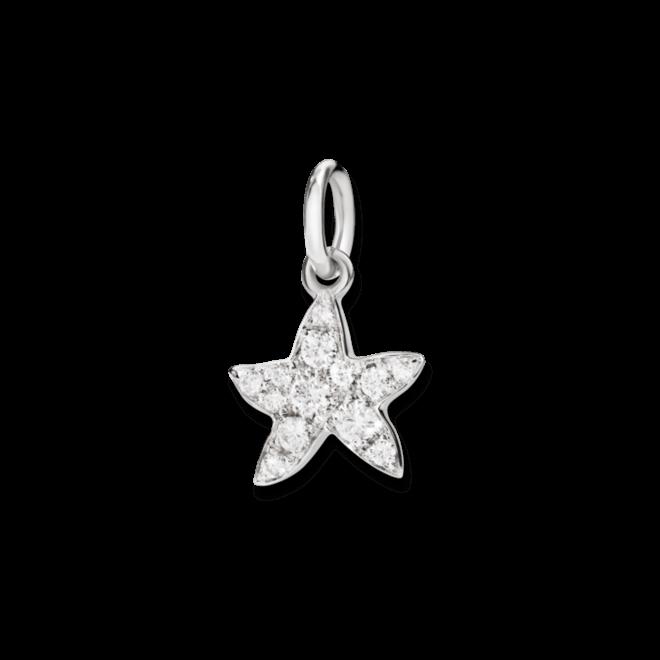 Charm Dodo Seestern (klein) aus 750 Weißgold mit mehreren Diamanten (0,16 Karat)
