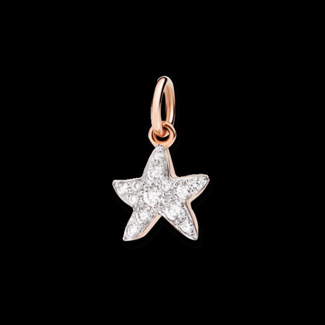 Charm Dodo Seestern (klein) Diamant aus 375 Roségold mit mehreren Diamanten (0,16 Karat)