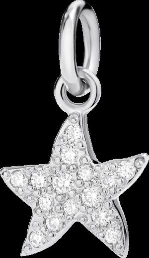Charm Dodo Seestern (klein) Diamant aus 750 Weißgold mit mehreren Diamanten (0,1 Karat)