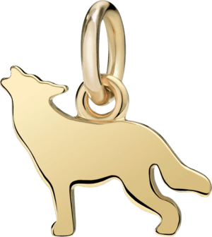Charm Dodo Wolf (klein) aus 750 Gelbgold