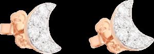 Ohrstecker Dodo Mond aus 375 Roségold mit mehreren Diamanten (2 x 0,15 Karat)