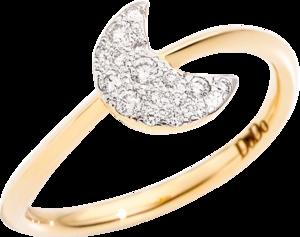 Ring Dodo Mond aus 750 Gelbgold mit 16 Brillanten (0,14 Karat)