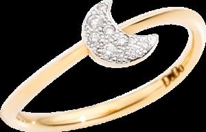 Ring Dodo Mond aus 750 Gelbgold mit 8 Brillanten (0,05 Karat)