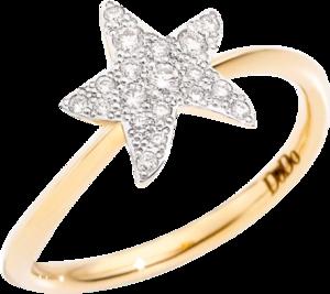 Ring Dodo Stern aus 750 Gelbgold mit 19 Brillanten (0,15 Karat)