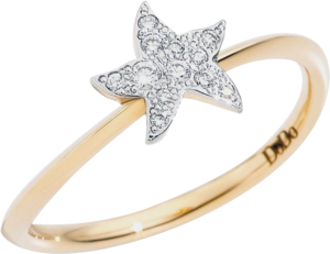 Ring Dodo Stern aus 750 Gelbgold mit 11 Brillanten (0,08 Karat)