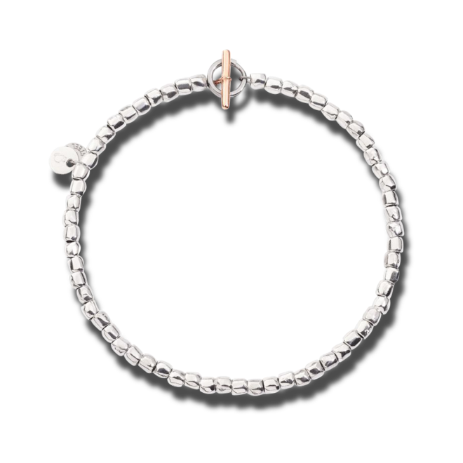 Armband Dodo Mini Granelli aus 375 Roségold, 925 Sterlingsilber und Edelstahl Größe L