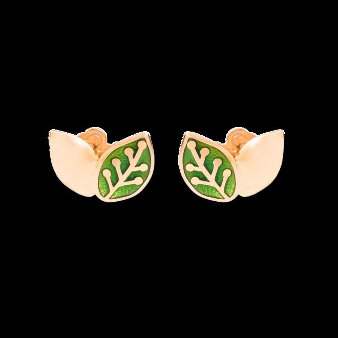Ohrstecker Dodo Blatt aus 375 Roségold und Emaille bei Brogle