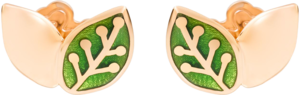 Ohrstecker Dodo Blatt aus 375 Roségold und Emaille