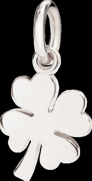 Charm Dodo Glücksklee aus 750 Weißgold