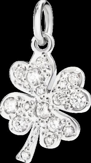 Charm Dodo Glücksklee aus 750 Weißgold mit 13 Diamanten (0,16 Karat)