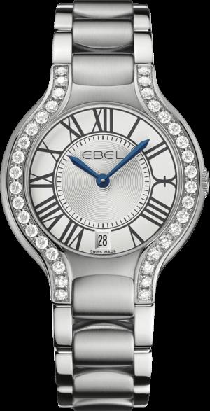 Damenuhr Ebel Beluga Grande Quarz mit Diamanten, weißem Zifferblatt und Edelstahlarmband