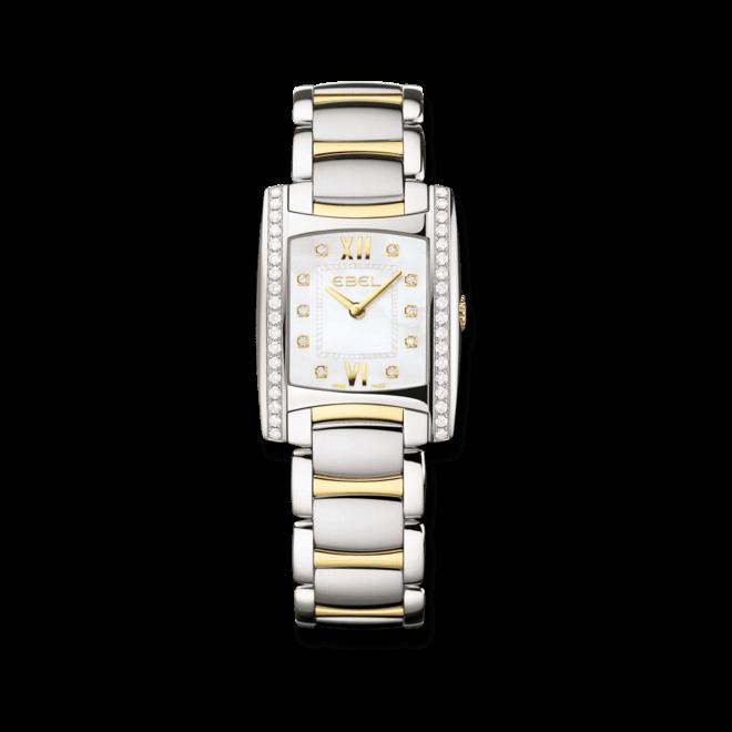 Damenuhr Ebel Brasilia Lady mit Diamanten, weißem Zifferblatt und Edelstahlarmband