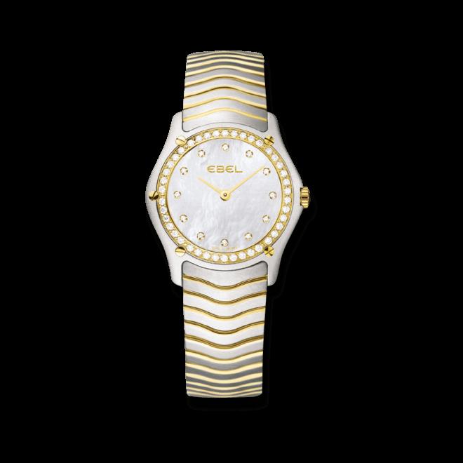 Damenuhr Ebel Classic Lady Quarz mit Diamanten, perlmuttfarbenem Zifferblatt und Edelstahlarmband