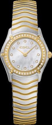 Damenuhr Ebel Classic Mini Quarz mit Diamanten, perlmuttfarbenem Zifferblatt und Edelstahlarmband