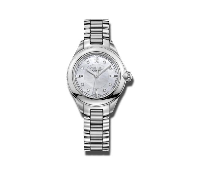 Damenuhr Ebel Onde 30mm Automatik mit Diamanten, perlmuttfarbenem Zifferblatt und Edelstahlarmband