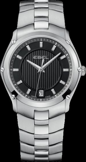 Damenuhr Ebel Classic Sport Grande mit schwarzem Zifferblatt und Edelstahlarmband