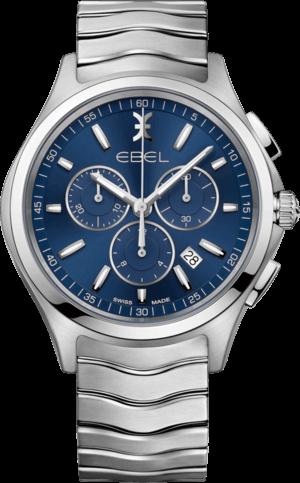 Herrenuhr Ebel Wave Gent Chronograph Quarz mit blauem Zifferblatt und Edelstahlarmband