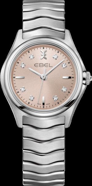 Damenuhr Ebel Wave Lady Quarz mit Diamanten, roséfarbenem Zifferblatt und Edelstahlarmband