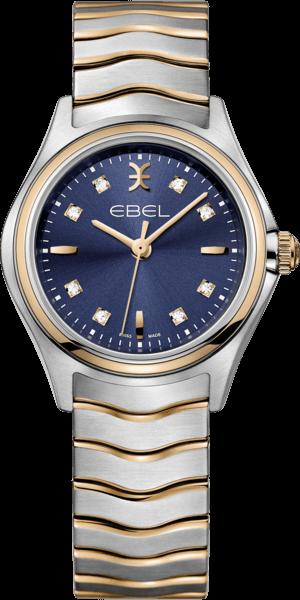 Damenuhr Ebel Wave Lady Quarz mit Diamanten, blauem Zifferblatt und Edelstahlarmband