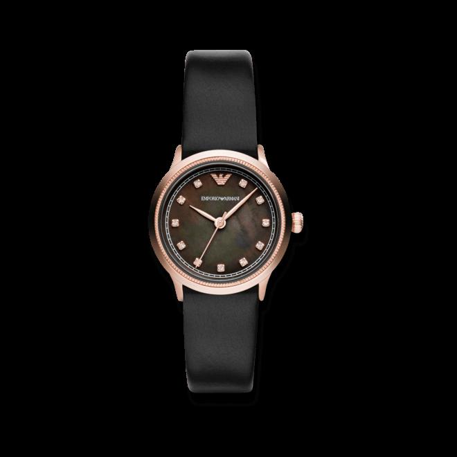 Damenuhr Emporio Armani Alpha 26mm mit schwarzem Zifferblatt und Kalbsleder-Armband