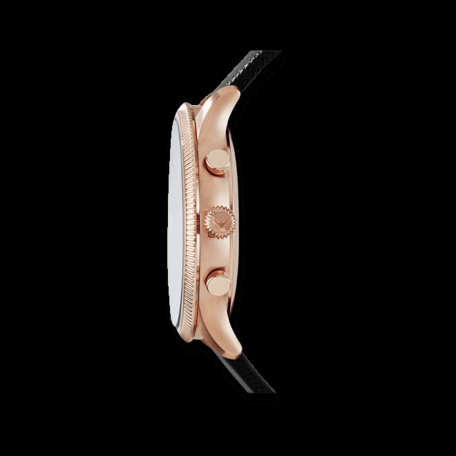 Herrenuhr Emporio Armani Alpha 43mm mit schwarzem Zifferblatt und Kalbsleder-Armband
